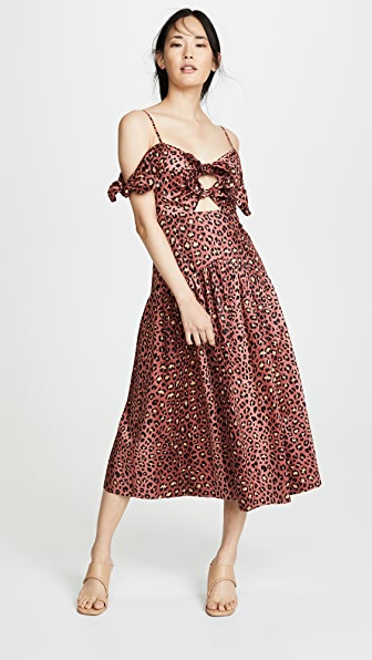Rebecca Taylor Dresses SLEEVELESS LEOPARD BOW DRESS