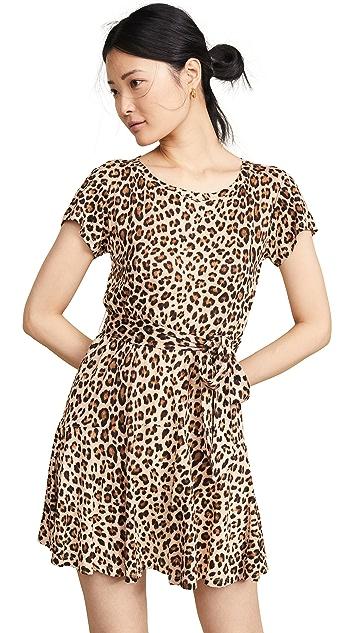 Rebecca Taylor Short Sleeve Leopard Jersey Dress