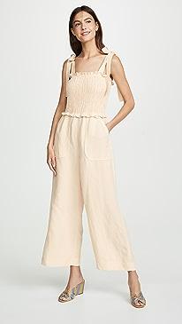 18ba876bfdb3 Rebecca Taylor. Sleeveless Linen Smock Jumpsuit