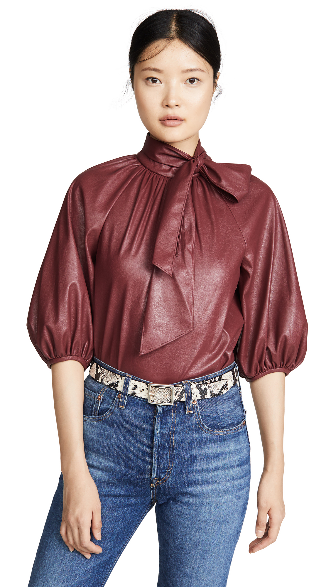 Rebecca Taylor Vegan Leather Top - 40% Off Sale