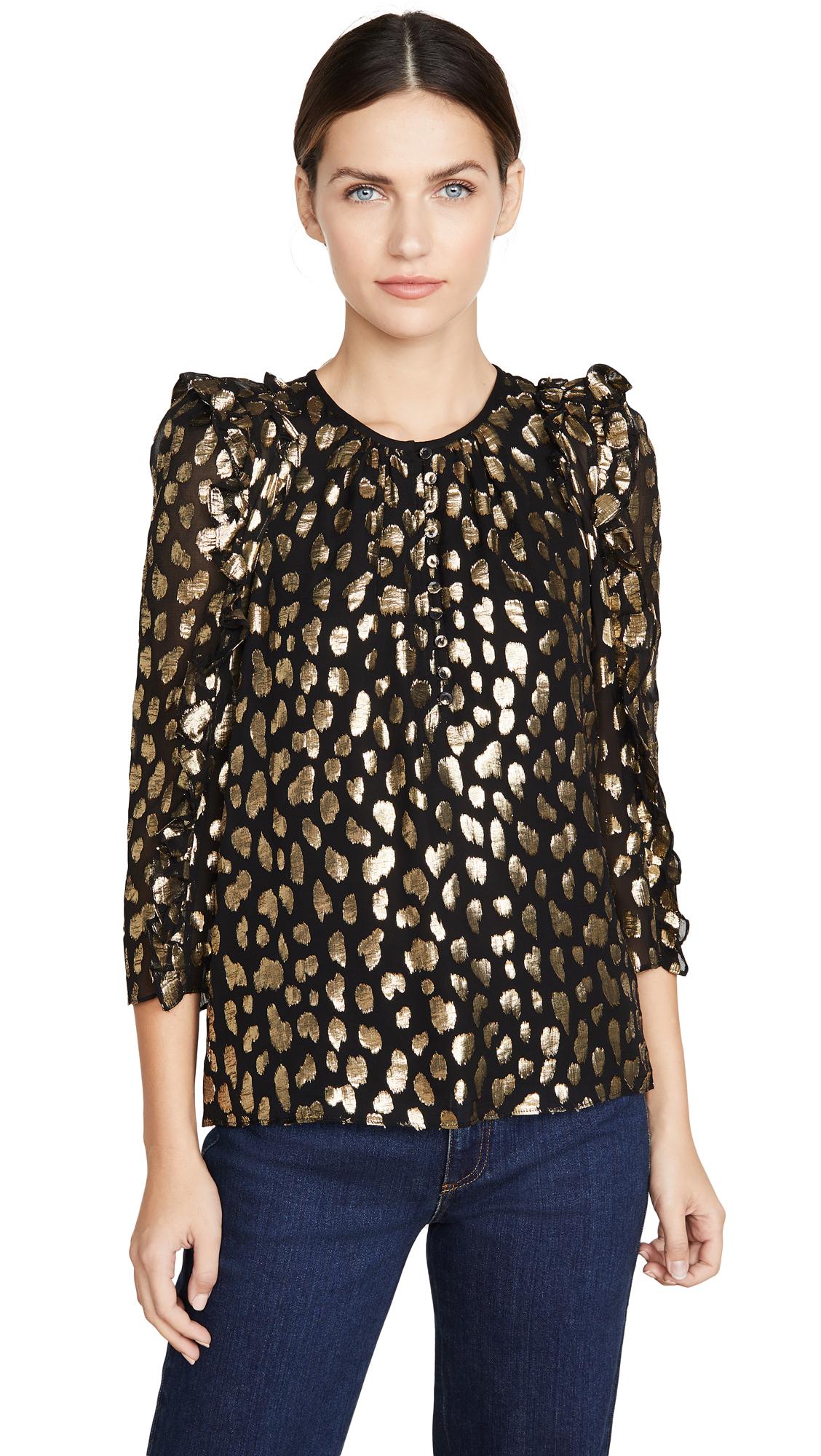 Rebecca Taylor Long Sleeve Leopard Metallic Top - 40% Off Sale