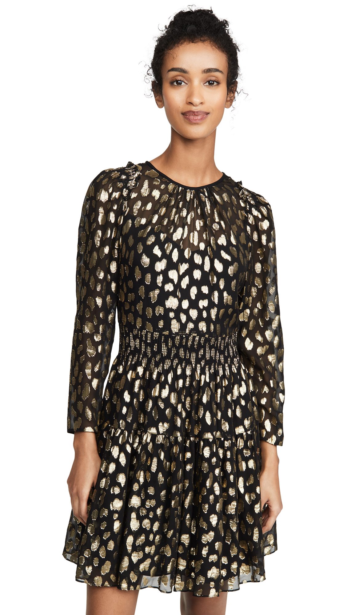 Rebecca Taylor Long Sleeve Leopard Metallic Dress - 60% Off Sale