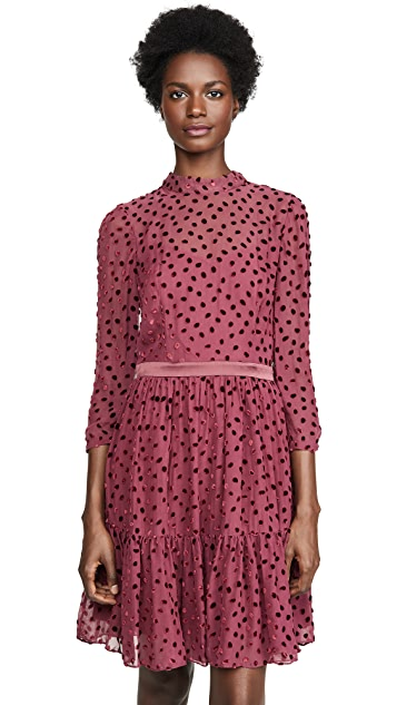 Rebecca Taylor Long Sleeve Velvet Dot Dress