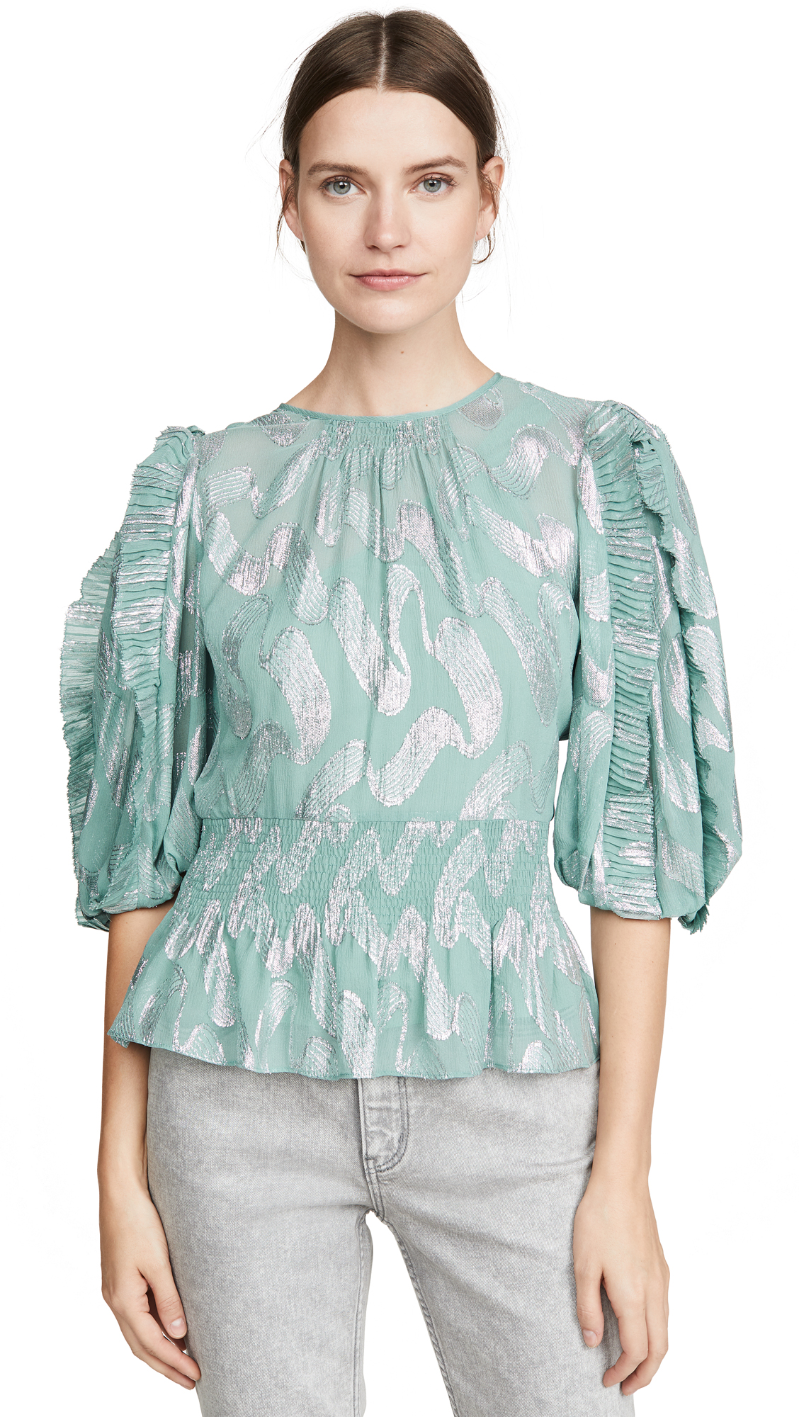 Rebecca Taylor Short Sleeve Metallic Jacquard Top - 40% Off Sale
