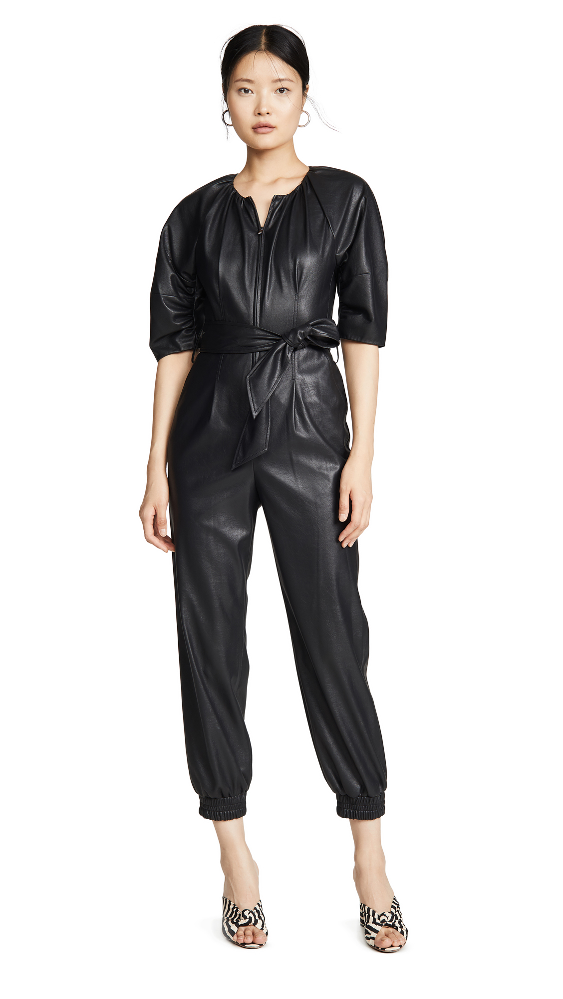 Buy Rebecca Taylor online - photo of Rebecca Taylor Short Sleeve Vegan Leather Jumpsuit