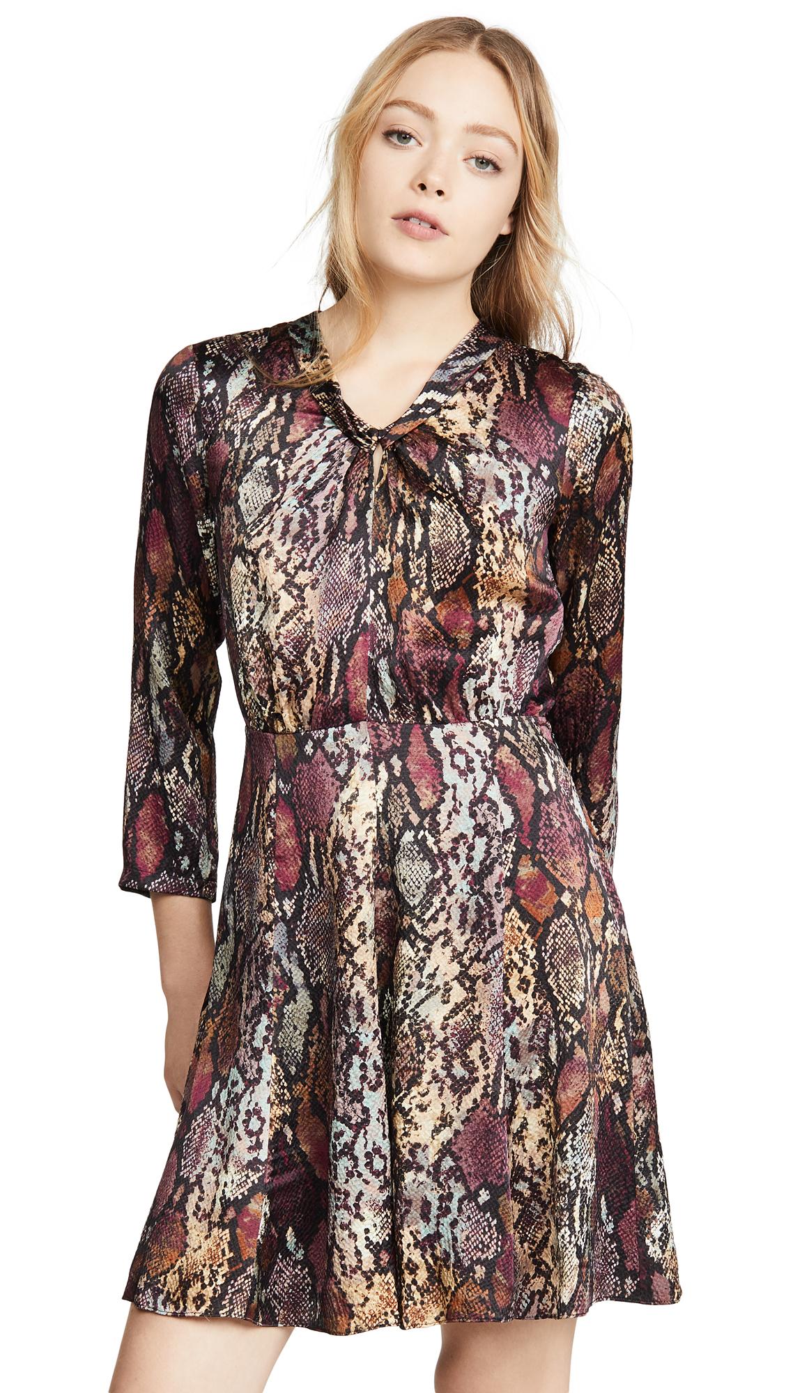 Rebecca Taylor Long Sleeve Snake Silk Dress - 60% Off Sale