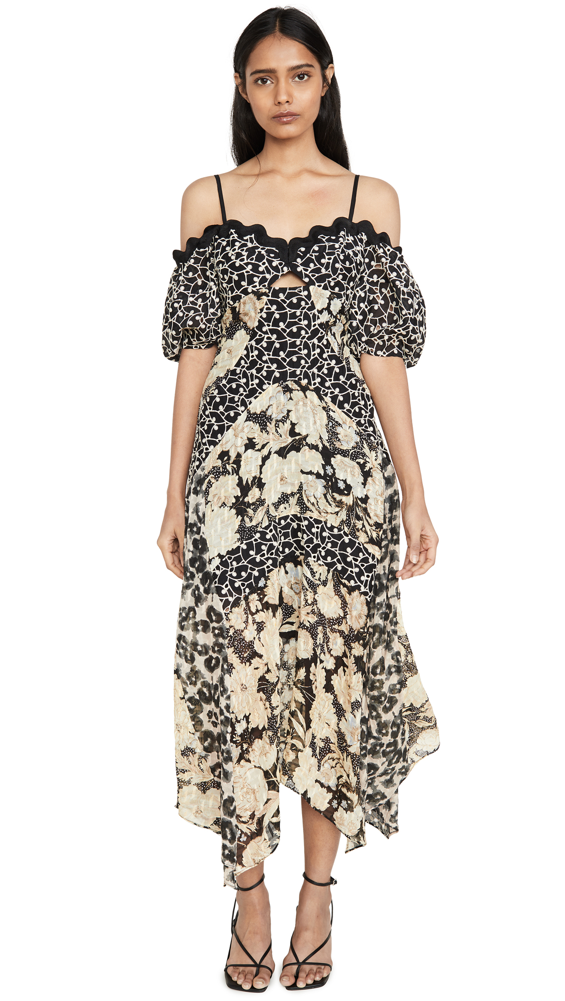 Rebecca Taylor Dresses OFF SHOULDER PRINT MIX DRESS
