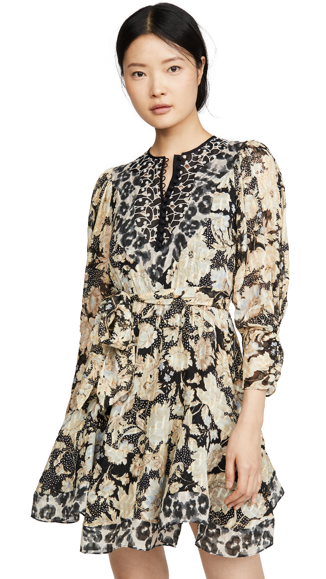 Buy Rebecca Taylor online - photo of Rebecca Taylor Long Sleeve Print Mix Dress