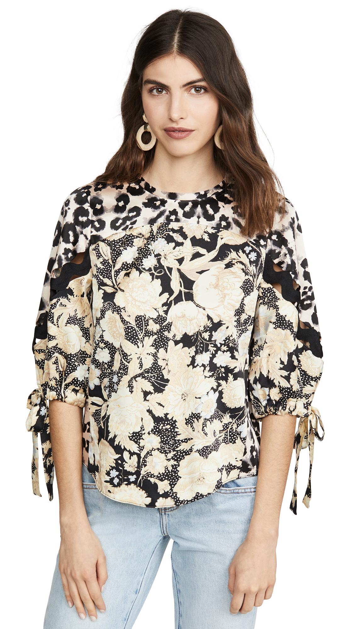 Rebecca Taylor Long Sleeve Gold Leaf Top - 50% Off Sale