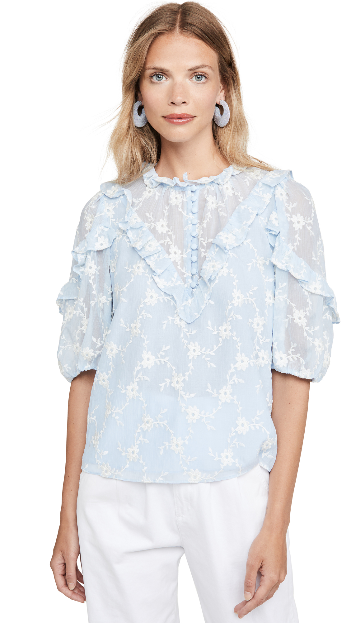 Rebecca Taylor Short Sleeve Vine Embroidery Top - 40% Off Sale