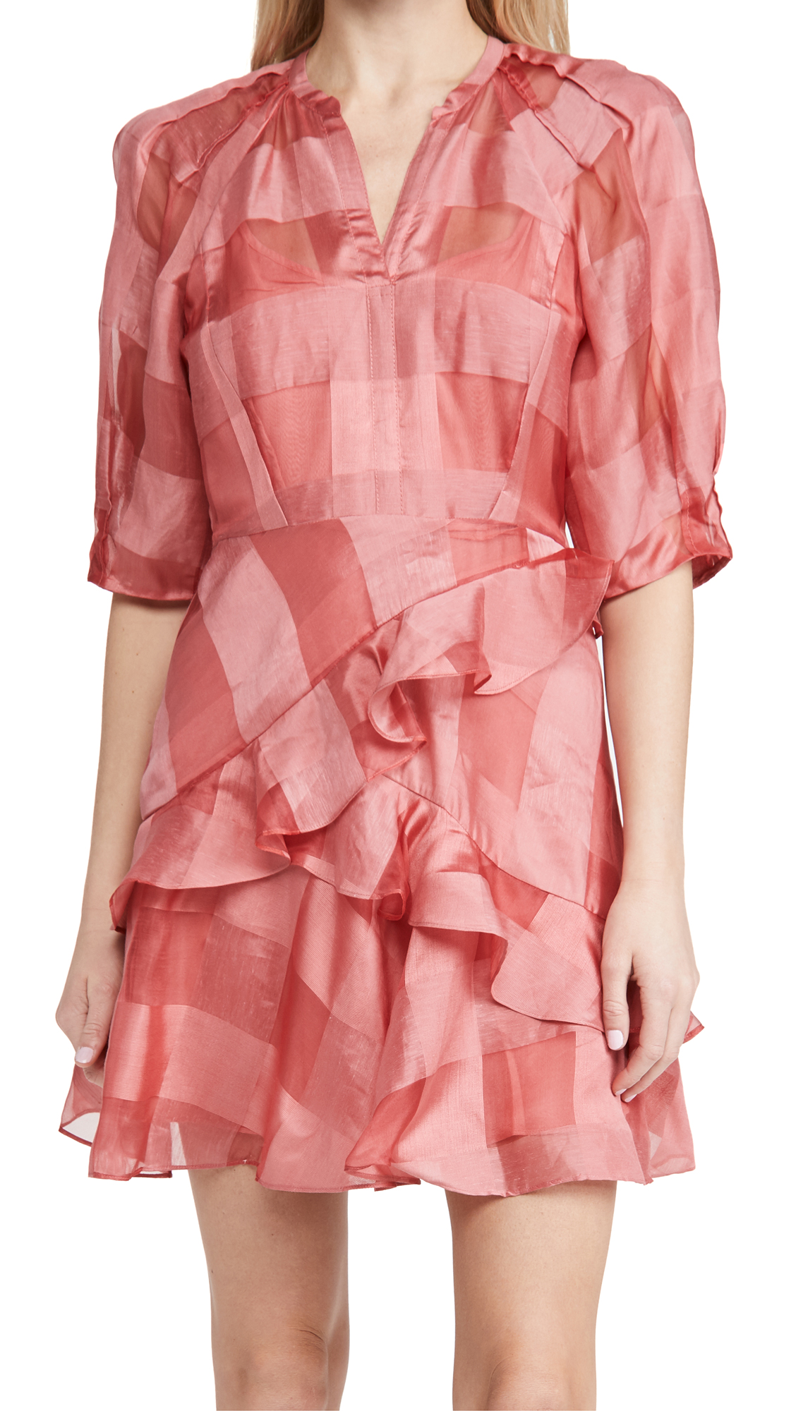 Rebecca Taylor LONG SLEEVE ORGANZA CHECK DRESS