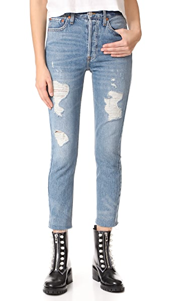 RE/DONE High Rise Ankle Crop Jeans - Medium Destroy