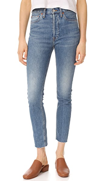 RE/DONE High Rise Ankle Crop Jeans - Med. Vain
