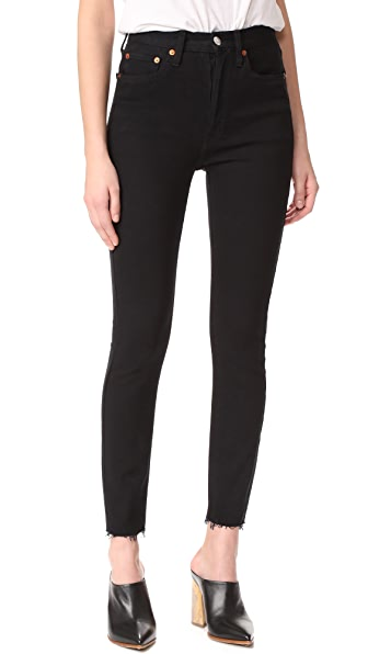 RE/DONE High Rise Ankle Crop Jeans - Black