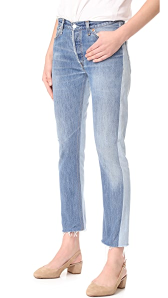 RE/DONE x Levi s Relaxed Two Tone Crop Jeans - No Destruction