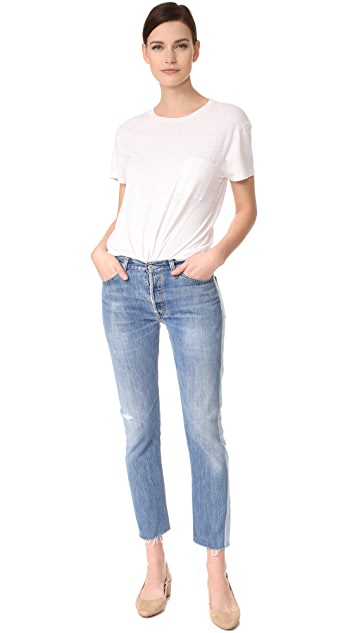 RE/DONE x Levi's Relaxed Two Tone Crop Jeans