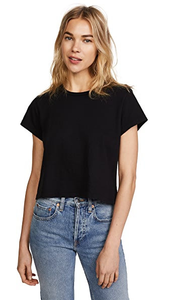 RE/DONE x Hanes 1950s Boxy Crop Tee In Black