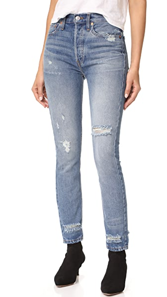 RE/DONE High Rise Rigid Skinny Jeans - Medium Extra Destroy