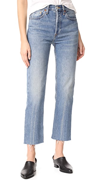 RE/DONE High Rise Rigid Stove Pipe Jeans - Medium Vain