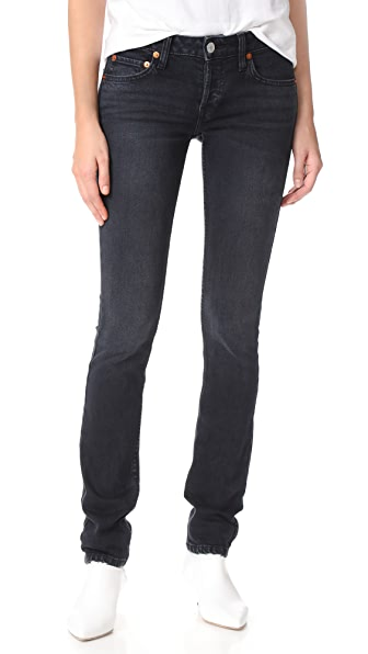 RE/DONE Low Rise Stack Stretch Jeans In Worn Black