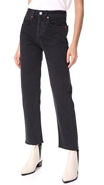 RE/DONE High Rise Rigid Stove Pipe Jeans - Washed Black