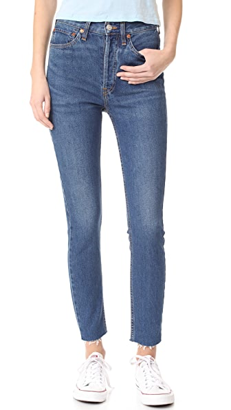 RE/DONE High Rise Ankle Crop Jeans - Dark