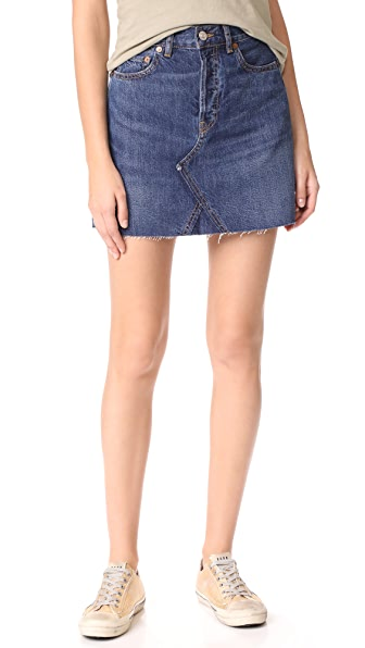 RE/DONE High Waisted Miniskirt - Dark Wash