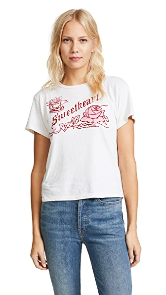 RE/DONE Classic Sweetheart Tee In Vintage White