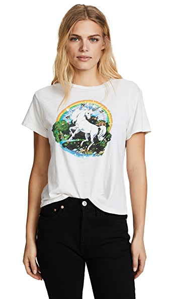 RE/DONE The Unicorn Dream Tee In Vintage White