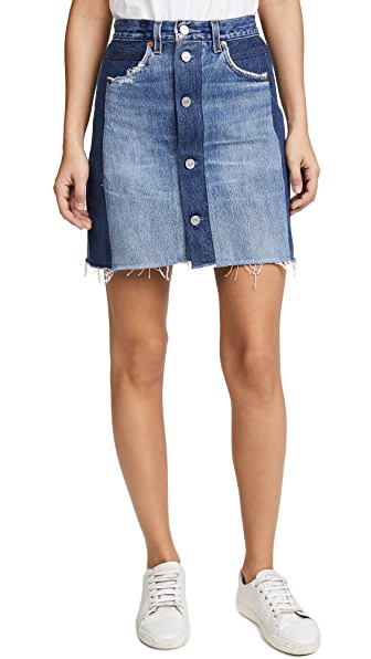 RE/DONE High Waisted Button Front Miniskirt In Indigo