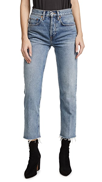 RE/DONE Stovepipe Crop Jeans In Light Vain