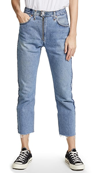 RE/DONE x Levi's High Rise Relaxed Zip Crop Jeans In Indigo