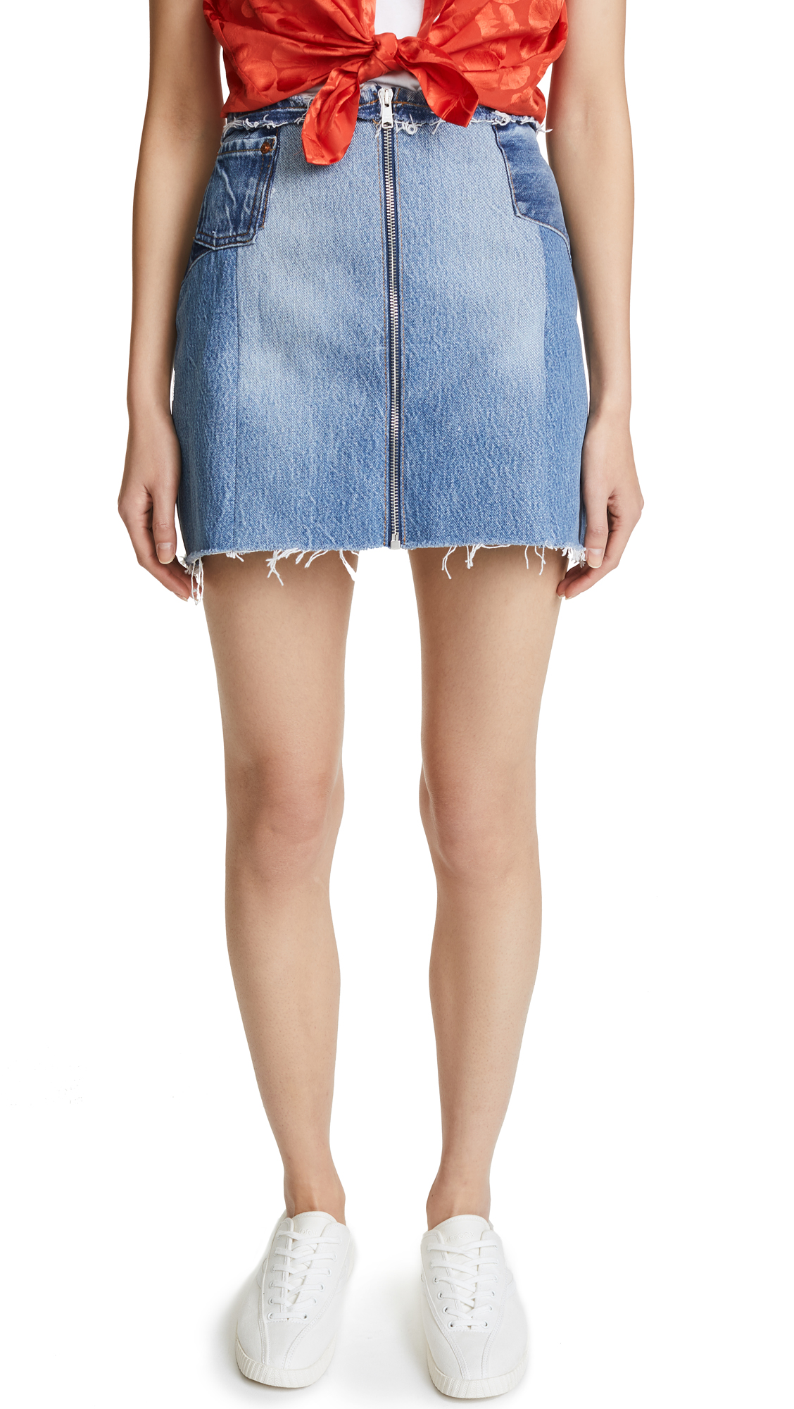 RE/DONE Raw Edge Zip Skirt In Indigo
