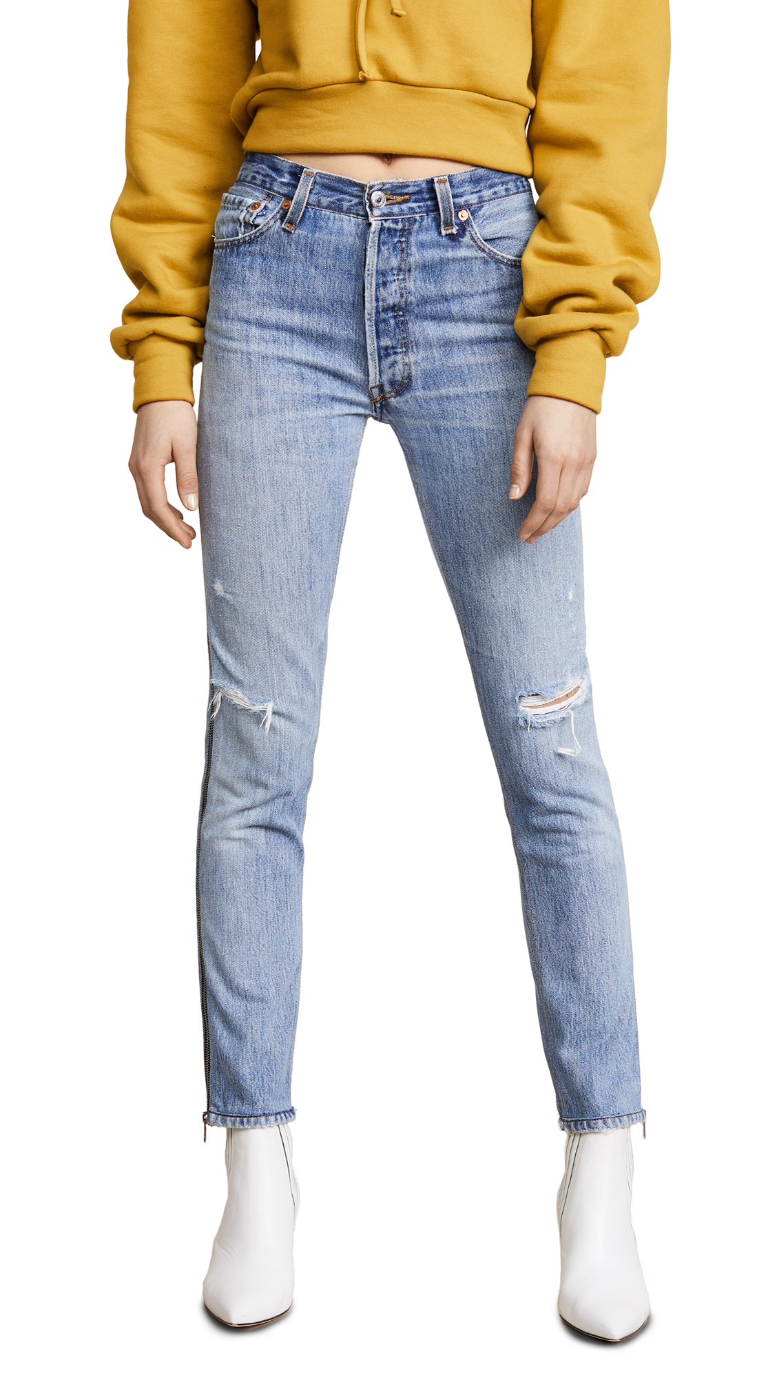 RE/DONE Levis High Rise Ankle Crop Zip Jeans