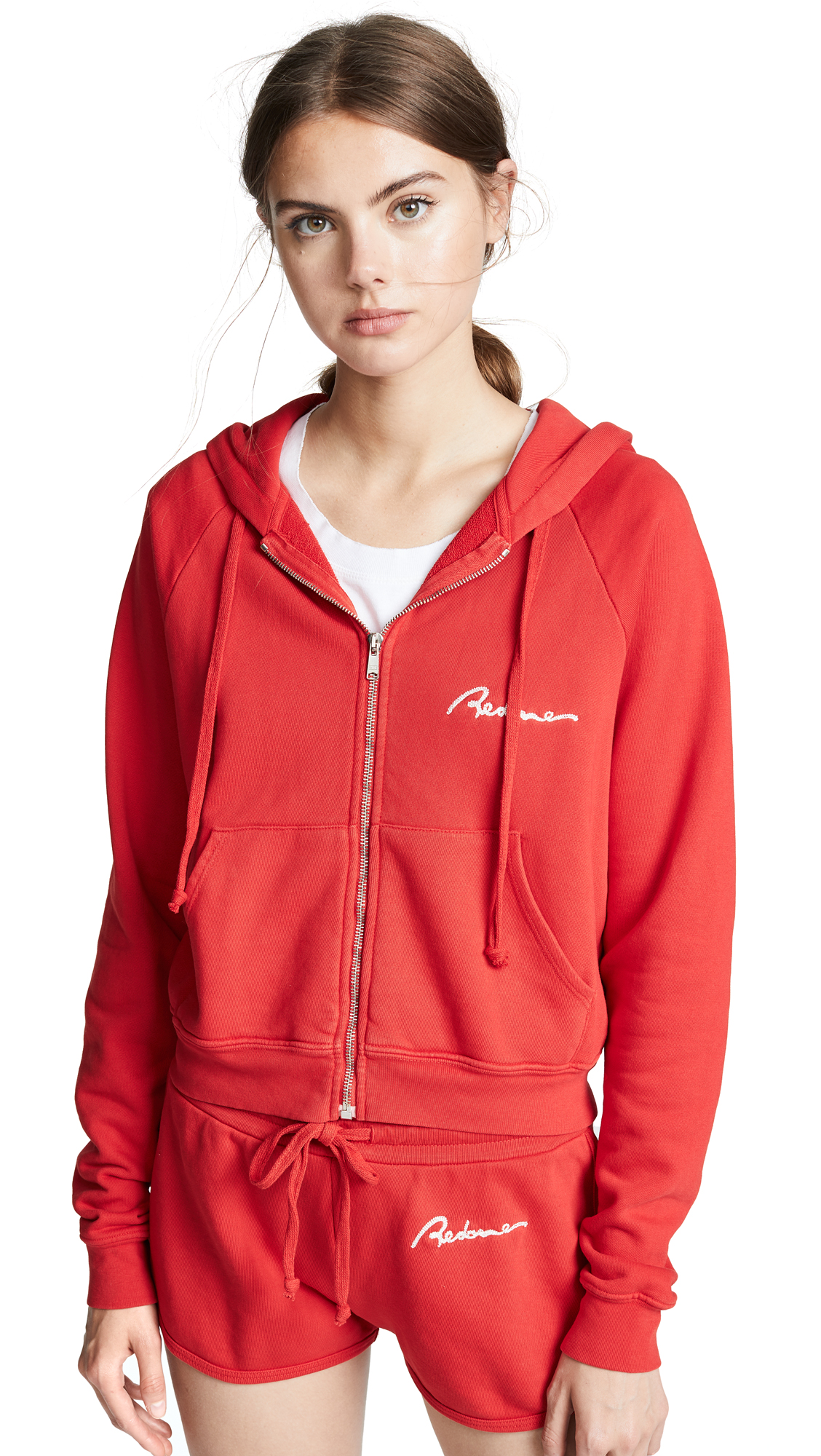 Embroidered Cotton-Jersey Hoodie, Red