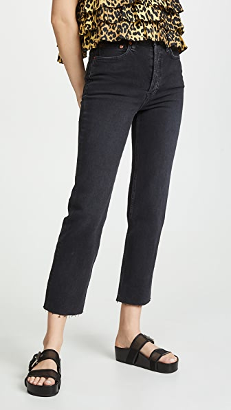 Re/done '90s Loose Mid-rise Straight Jeans In Black