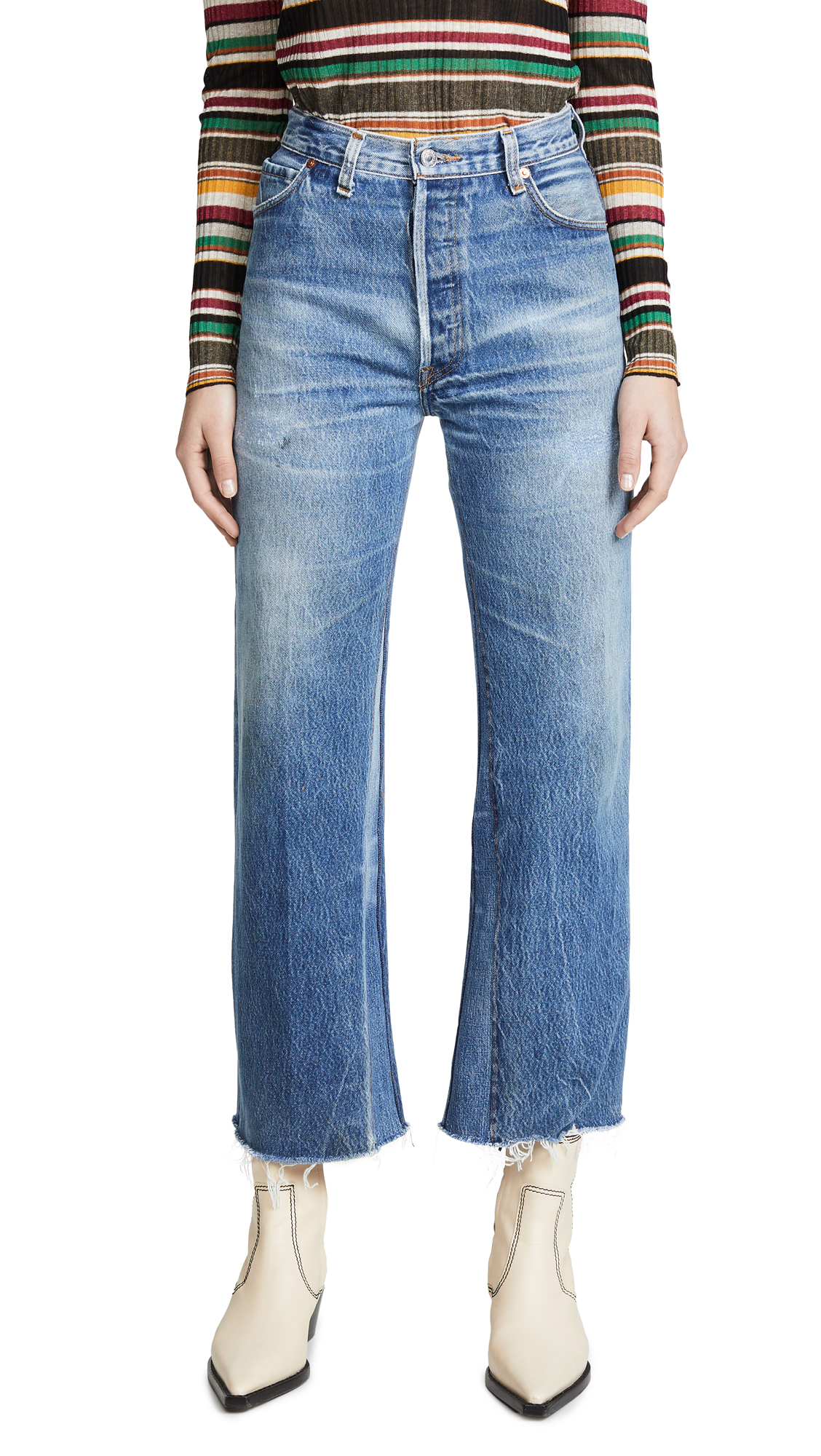 Buy RE/DONE online - photo of RE/DONE High Rise Wide Leg Crop Jeans