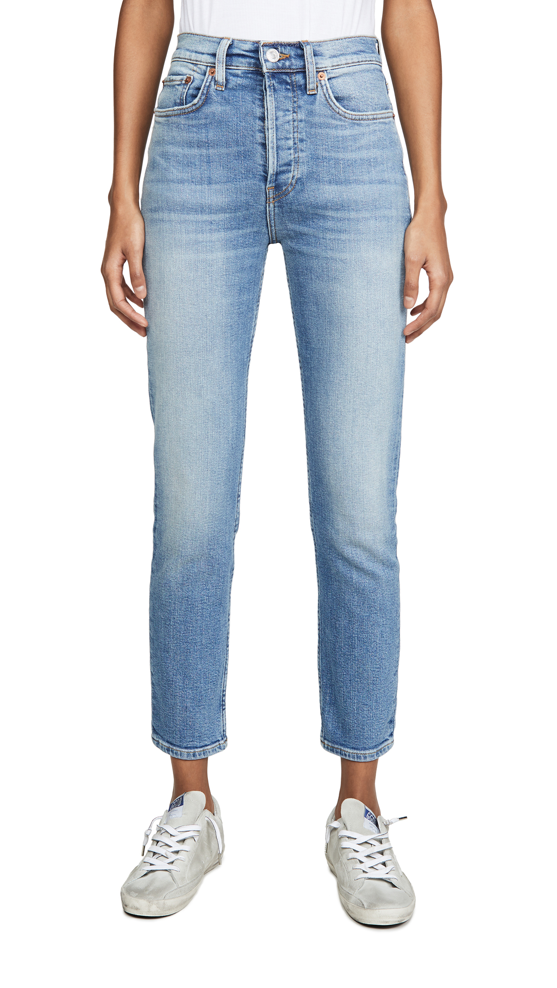 Buy RE/DONE online - photo of RE/DONE High Rise Ankle Crop Jeans