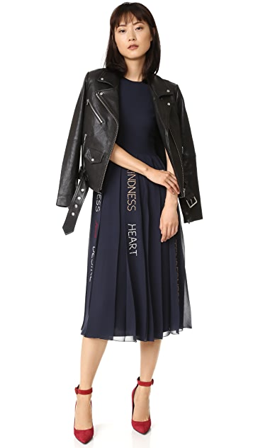 RED Valentino Pleated Graphic Print Dress