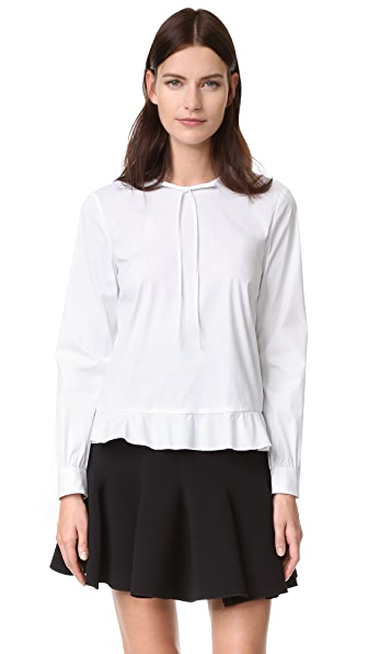 RED Valentino Ruffle Hem Tie Neck Blouse