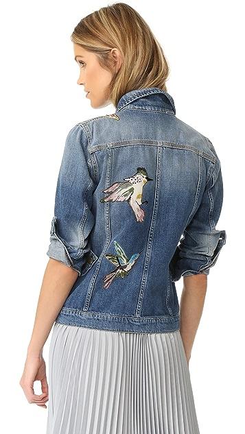 RED Valentino Embroidered Birds Denim Jacket