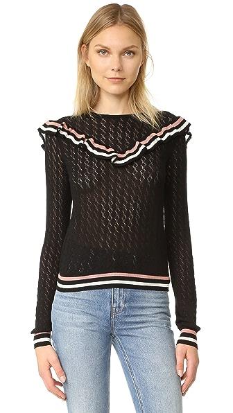RED Valentino Ruffle Overlay Sweater - Black/Cream/Powder
