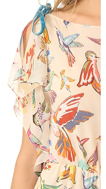 RED Valentino Print Birds Flare Jumpsuit