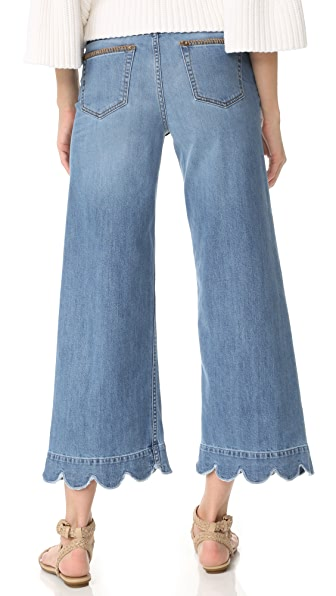 RED VALENTINO Stone-Washed Cropped Wide-Leg Jeans, Light Blue