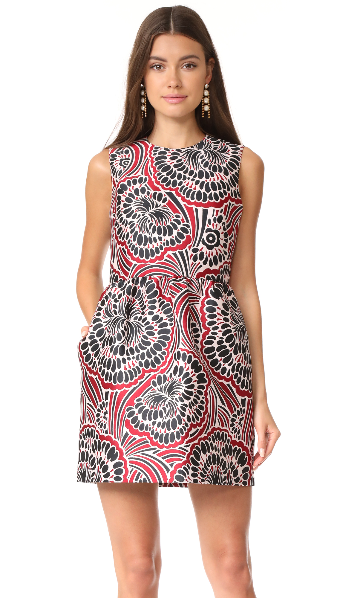 RED Valentino Patterned Dress - Black/Red