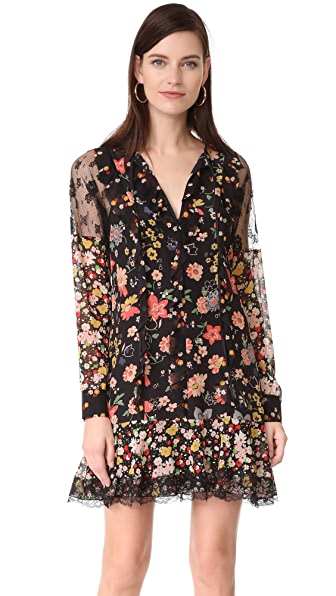 RED Valentino Long Sleeve Floral Dress - Black