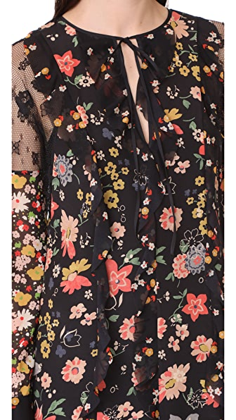 RED VALENTINO Split-Neck Long-Sleeve Floral-Print Ruffle Lace Dress, Multi Pattern