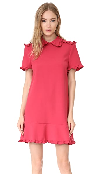 RED Valentino Collared Short Sleeve Dress In Lipstick