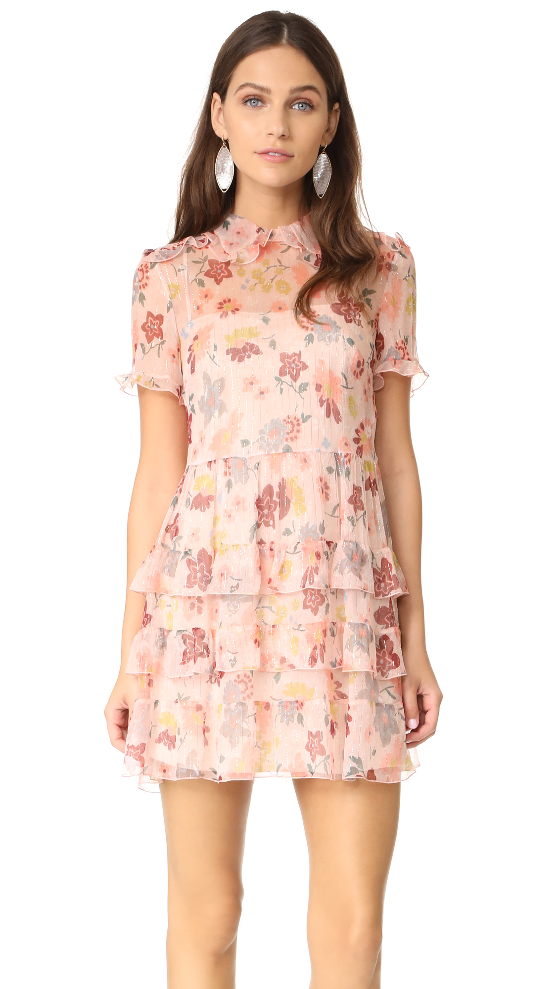 RED Valentino Collared Ruffle Dress - Nude