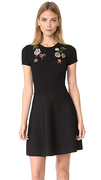 RED Valentino Embroidered Dress In Black